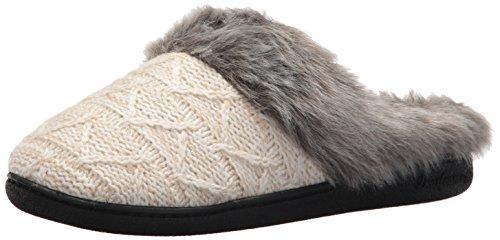 Dearfoams Women's Textured Knit Clog w Pile Cuff Oatmeal Heather