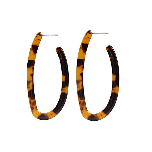 (Acrylic Tortoise Shell Leopard Geo Hoop Earrings for Women (Brown Geo Hoop Earrings))