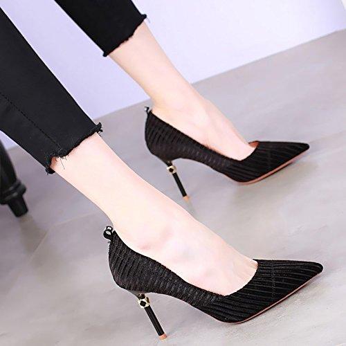 KHSKX-9 Cm Zapatos De Tacon Alto Zapatos De Moda Con Fina Boca Superficial Nueva Primavera Sexy Piedras Todas Coinciden Con Los Zapatos De Color black
