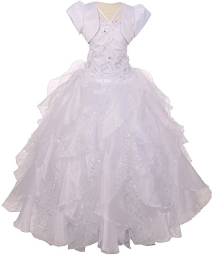 Sequin Flower Layer Organza Tulle Little Girl First Communion Dresses (2T0R2K2) White 6 by BluNight Collection