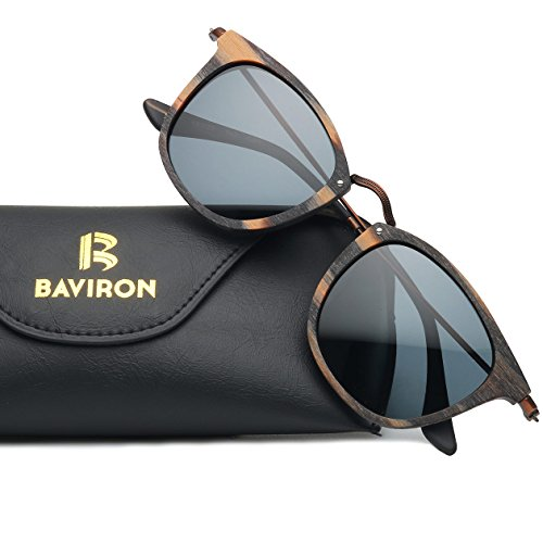 BAVIRON Similar Wood Sunglasses Polarized Mens Handmade Retro Acetate Glasses Stylish Eyewear(C99 Leopard / - Handmade Sunglasses Brand