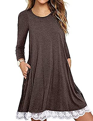 Halife Women's Summer Fall Short Sleeve/Long Sleeve Lace Hem T-Shirt Loose Dress with Pockets