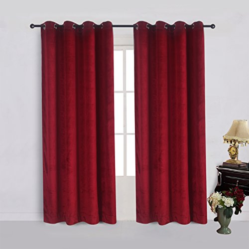 Cherry Home Set of 2 Classic Blackout Velvet Curtains Panels Home Theater Grommet Drapes Eyelet 52Wx63L-inch Red(2 panels)Theater| Bedroom| Living Room| Hotel