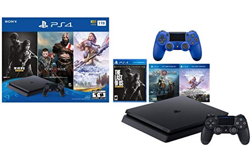Sony PlayStation 4 1TB Holiday Bundle: PlayStation 4 1TB Slim Console Jet Black, The Last of Us: Remastered, God of War, Horizon Zero Dawn, Two DUALSHOCK 4 Wireless Controller