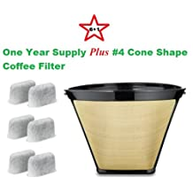 #4 Cone Shape Permanent Coffee Filter & a set of 6 Charcoal Water Filters for Cuisinart DCC-RWF1 Coffeemakers