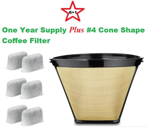 #4 Cone Shape Permanent Coffee Filter & a set of 6 Charcoal Water Filters for Cuisinart DCC-RWF1 Coffeemakers True Modern Electronics
