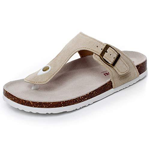 (Asifn Women's Sandal Cork Sandals Slide Flat Strap Buckle Girl Leather Footbed Adjustable Casual Double Toe Shoes Summer Open Platform Suede Slides White(6 US Men/7 US Women,23.5 cm Heel to Toe)