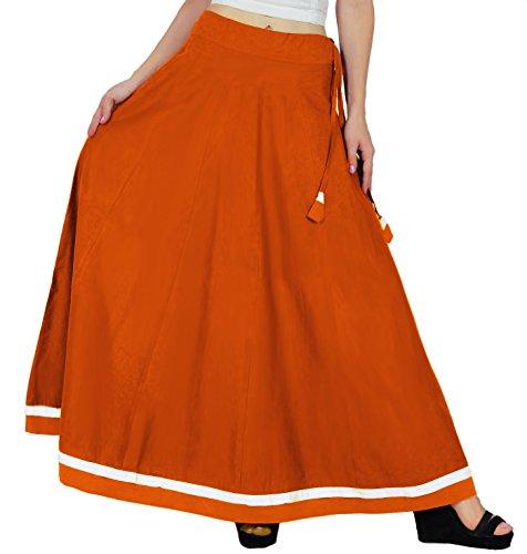 avec coton jupe maxi une taille ligne boho vases Bimba coulisse Orange jupes q85xFEnw