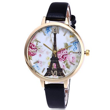 Bella relojes reloj de mujer, Alla Moda reloj de pulsera cuarzo piel banda Torre Eiffel