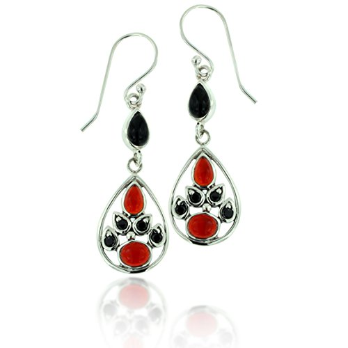 Red Carnelian Earrings (925 Oxidized Sterling Silver Black Onyx, Red Carnelian Gemstone Tear Drop Dangle Earrings)
