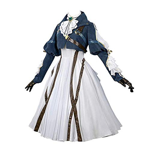 Nuoqi Violet Evergarden Cosplay Costume Womens Anime Uniforms Suit Dark Blue White ()
