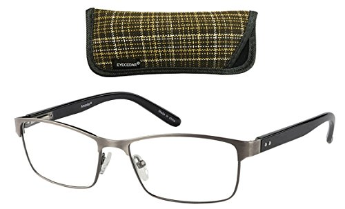 98b92d00a6 Eyecedar 5-Pack Reading Glasses Men Rectangle Frame Metal Spring Hinges  Stainless Steel Material Includes