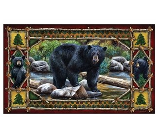 by the stream black bear door mat - Bear Rugs