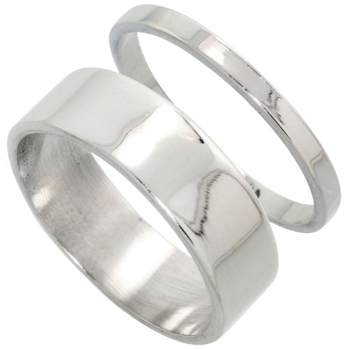 Sterling Silver Flat Wedding Band Ring Set His and Hers 2 mm + 7 mm, size 7.5