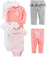 Simple Joys by Carter's Baby Girls' 6-Piece Bodysuits (Short and Long Sleeve) and P