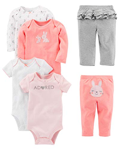 Show Girl Outfits (Simple Joys by Carter's Baby Girls' 6-Piece Little Character Set, Pink Bunny, 12)