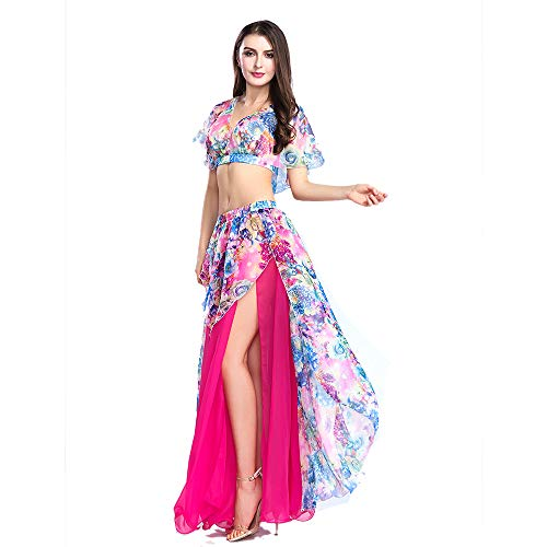 ROYAL SMEELA Belly Dance Costume Set for Women, One Size, Belly Dancing Skirt and Tops, 6 Colors Hot Pink