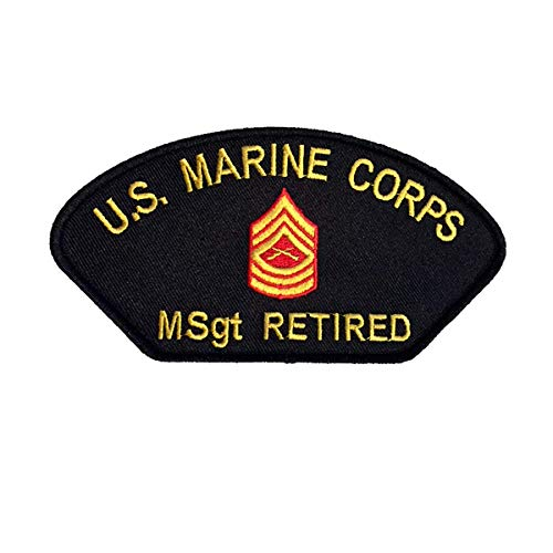 (U S MARINE CORPS Msgt RETIRED with RANK INSIGNIA PATCH - Yellow and Red on Black Background - Veteran Owned Business)