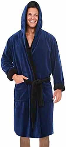 Winter Mens Sherpa Flannel Pajamas Tops Pants Warm Plush Robes Sleepwear 2PC Set