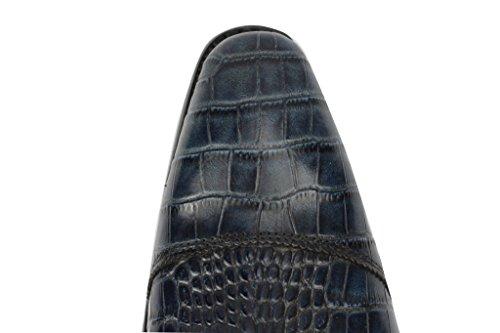 Da uomo in vera pelle effetto serpente, con lacci BLU Oxford Smart Dress 6,5789101111,5