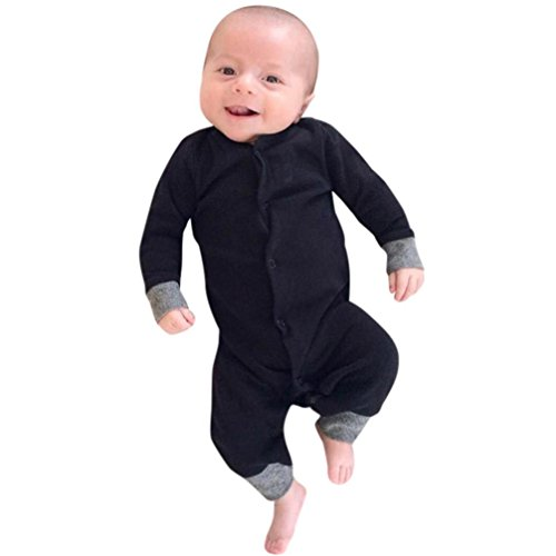 Toddler Infant Baby Boys Long Sleeve Botton Solid Romper Jumpsuit Pajamas Outfit