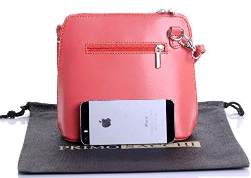 5bb8b43e11c2e Italian Leather, Orange Pink Small/Micro Cross Body Bag or Shoulder Bag  Handbag.