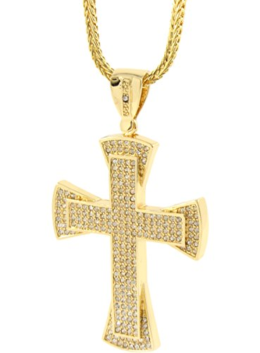 "Mens Gold Plated Iced Out Hip Hop Flared Cross Pendant 36"" Inch Franco Chain A32"