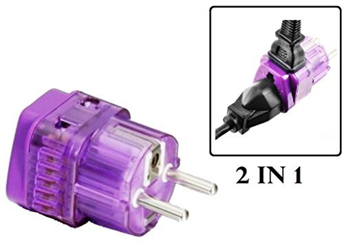 vel Adapter Plug for Europe like France, Germany, Spain, Turkey, Portugal, Poland, Austria, Belgium, Sweden, Norway, South Korea, Netherlands. Grounded 2 in 1 ()