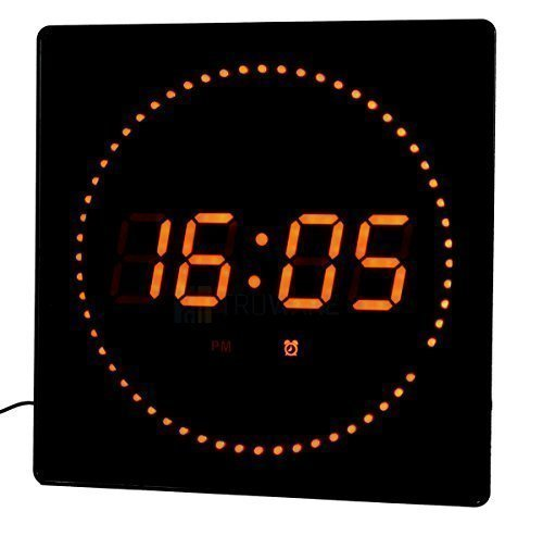 LED Reloj Rojo Redonda Temperatura Despertador Pantalla fecha Montaje en la pared Reloj de estudio Reloj digital: Amazon.es: Relojes