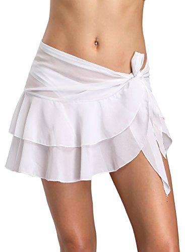 Dailybella Womens Chiffon Beach Cover up Sarong Multi Wear Ruffle Pareo Canga Swimsuit Wrap (S & M, White)