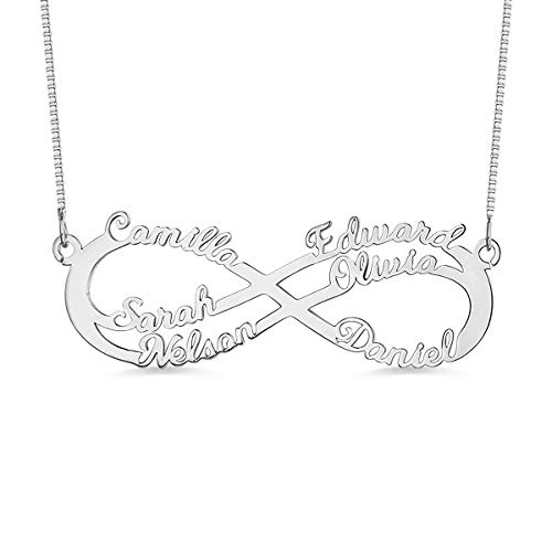 (RESVIVI Eternal Infinity Silver Plating Copper Personalized Six Names Necklace Custom Made Any Names Pendant Necklace)