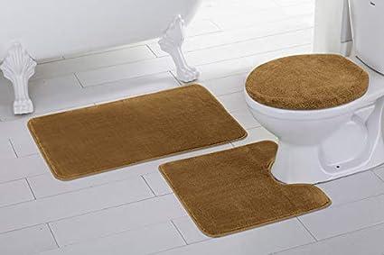Mat and Toilet Lid Cover New Fancy Linen 3pc Non-Slip Bath Mat Set Solid Silver//Light Grey Bathroom U-Shaped Contour Rug
