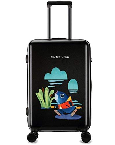 ユニバーサルホイールトロリーケースラゲッジスモールフレッシュ24インチスーツケース (Color : ブラック) B07MMLTFVQ