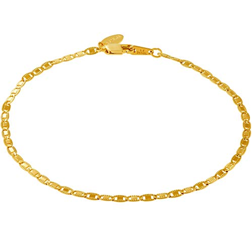 Lifetime Jewelry Gold Ankle Bracelets for Women Men and Teen Girls [ 2.5mm Flat Mariner Link Chain ] 20X More Real 24K Plating Than Other Anklets - Cute for Beach Party Wedding (9.0) ()