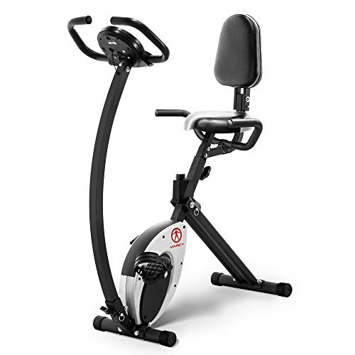 Marcy Foldable Recumbent Exercise Bike with High Backrest and Magnetic Resistance NS-653