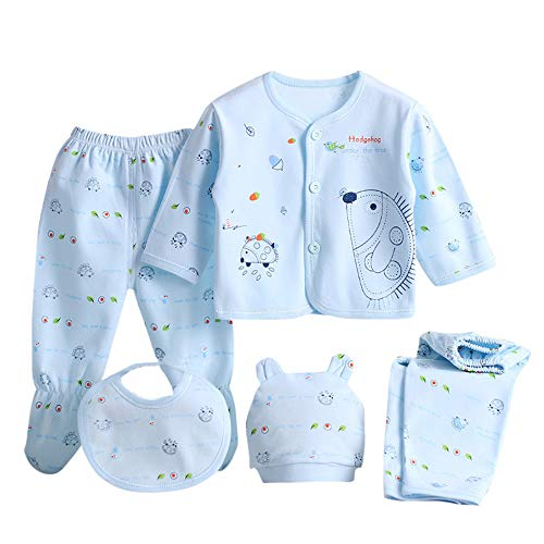 5PCS Newborn Boy Girl Cartoon Hedgehog Print Tops+Hat+Pants +Bib Outfit Set 0-3M