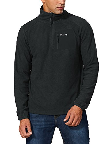 Baleaf Men's Half Zip Fleece Pullover Jacket Sport Sweater Sweatshirt Gray Black Size (Lightweight Thermal Pullover)