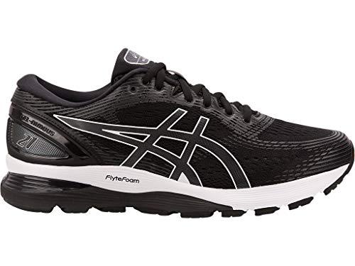 ASICS Men's Gel-Nimbus 21 Running Shoes, 8W, Black/Dark Grey