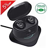 Bluetooth Earbuds - HiFi Stereo Ultralight Sport Wireless Earbuds, Portable Charging Box-Support Wireless Charge, in-Ear Bluetooth Headphones w/Mic for iPhone iPad Android(K5C-Metallic)