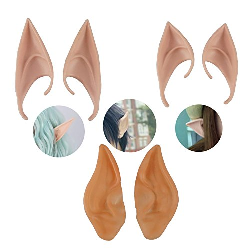 Elf Ears Cosplay Party Soft Latex Sharp Fake Ear Fairy Pixie Elf Accessories Prosthetic 3 Pair by GOCROWN -