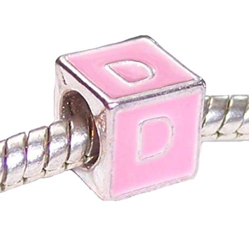 Cube Alphabet Initial Gift Charm for European Bead Bracelet Crafting Key Chain Bracelet Necklace Jewelry Accessories Pendants ()