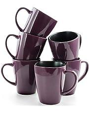 Elama 16 Ounce Stoneware Soft Square Coffee and Tea Mug set, 6 Piece, Solid Purple