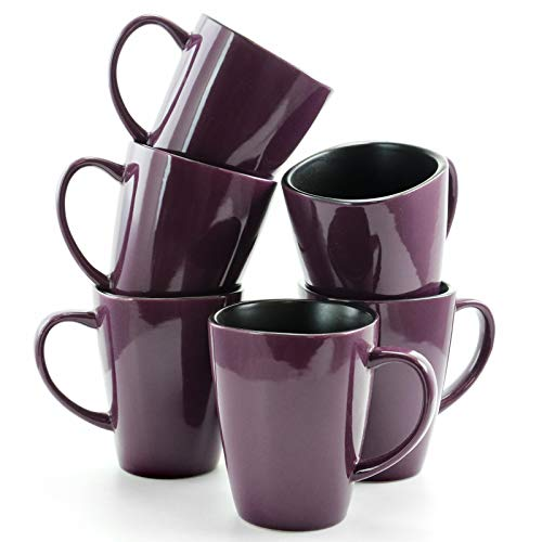Elama Mulberry Loft 16 Ounce Stoneware Soft Square Coffee and Tea Mug set, 6 Piece, Solid Purple