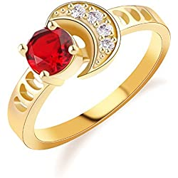 T-Jewelry Fashion Gold Plated Ring For Women Luxury Moon Finger Red Jewelry Wedding Rings