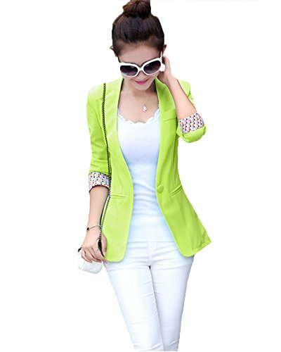 - My Wonderful World Women's Long One Button Blazer X-Large Fluorescent Green