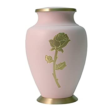 Terry Cremation Funeral Urn for Human Ashes – Pink – Suitable for Burial – Rose