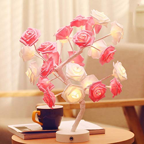 - HRUIHKV 2018 New LED Table Lamp Night Lighs Desk Flower Rose Tree for Home Party Coffee Decoration