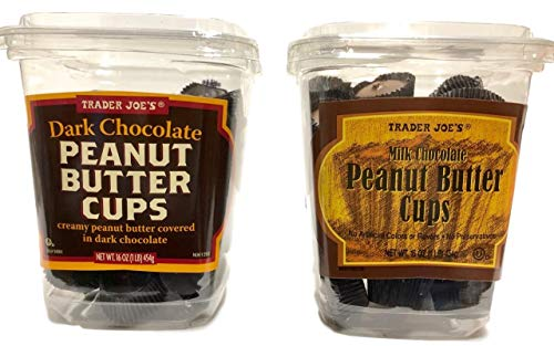 Trader Joe's Dark Chocolate and Milk Chocolate Peanut Butter Cups, Two Tub Bundle