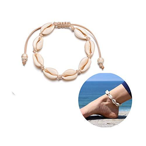 KAMRESH Natural Shell Handmade Anklets Summer White Velvet Rope Choker Beach Foot Jewelry Hawaiian Style Adjustable for Women Girls Unisex