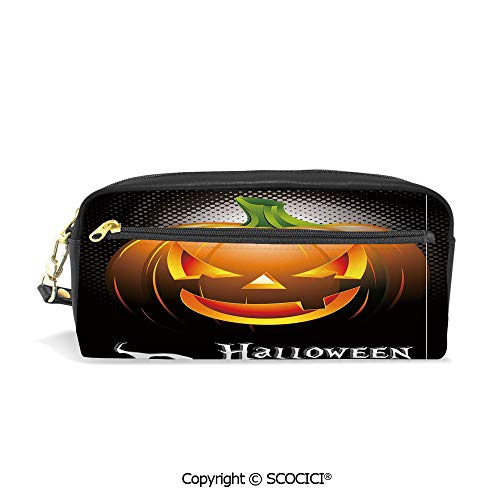 Printed Pencil Case Large Capacity Pen Bag Makeup Bag Halloween Party Theme Scary Pumpkin on Abstract Modern Backdrop Spider Decorative for School Office Work College Travel -